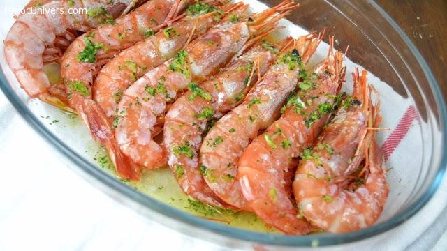 crevettes cuites à l'ail et persil