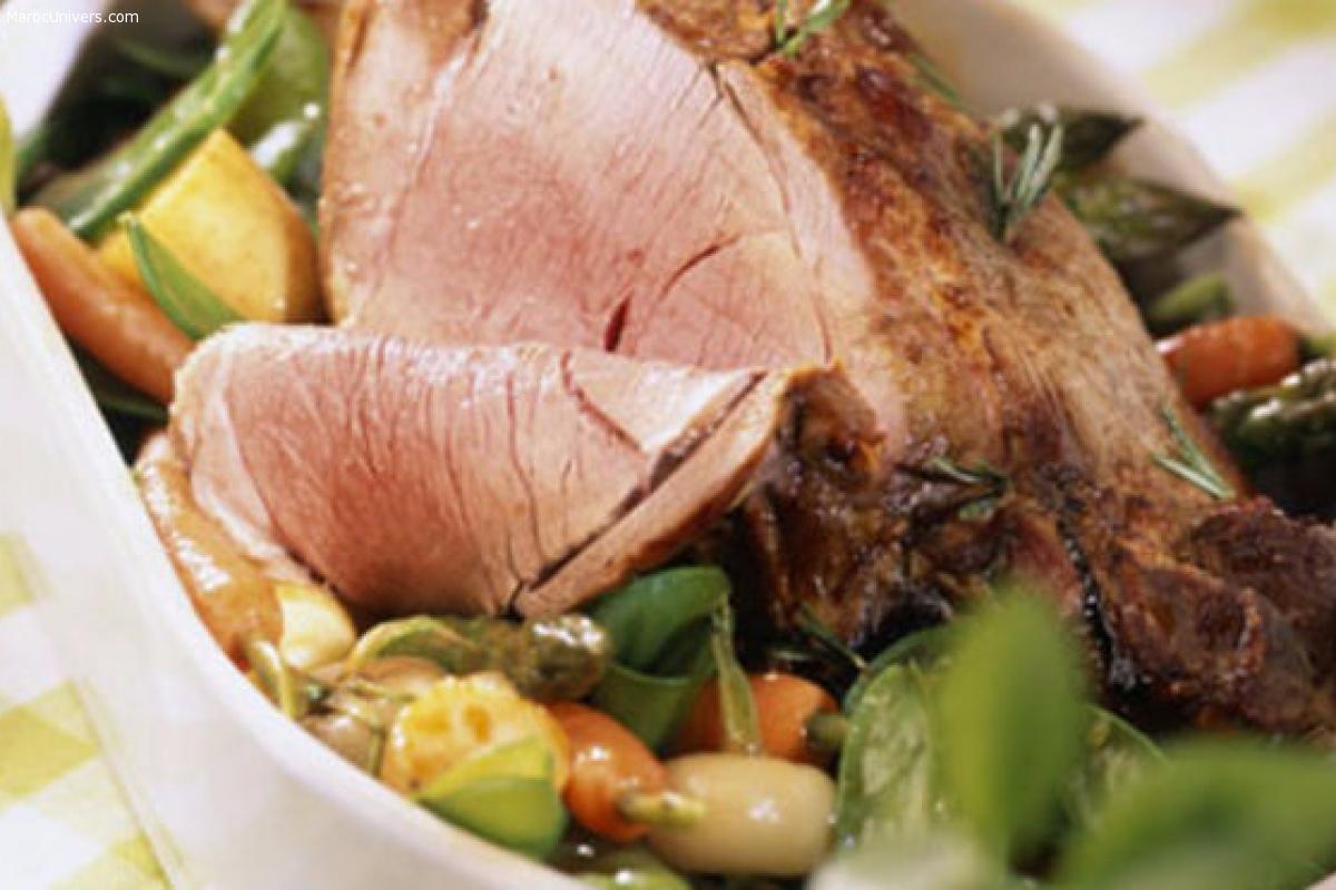 Gigot d'agneau rôti au romarin frais