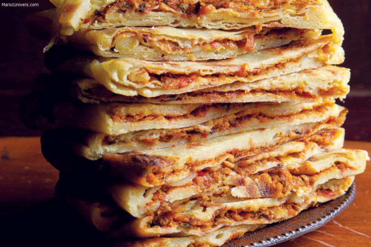 Mahjouba (mhajeb) : Crêpes algériennes farcies à la viande