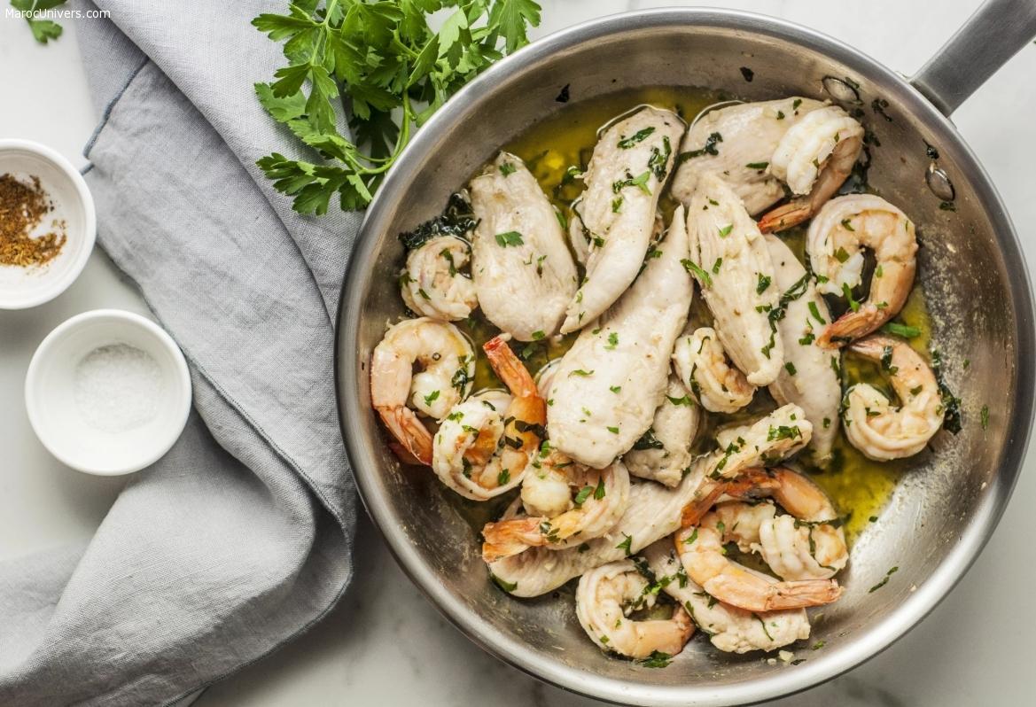 Poulet à l'ail et crevettes