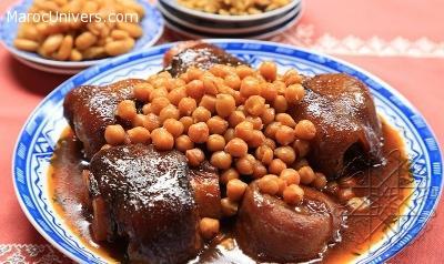 Recette Hargma ou pieds de veau aux pois chiches et raisin