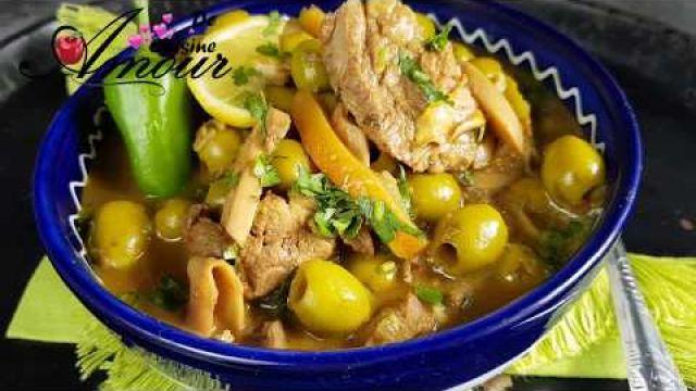 Tajine d'agneau aux olives et citron confit de la cuisine marocaine طاجين الزيتون